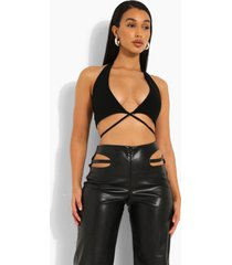 geribbelde crop top met laag decolleté en halter neck, black
