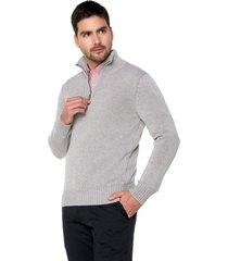 sweater gris 103 preppy m/l c/alto 1/2 cremallera tejido medio