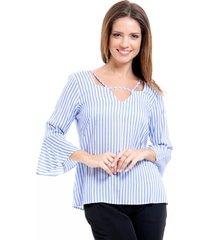 blusa 101 resort wear decote tiras viscose listrada azul