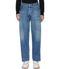 belted high rise whiskered denim jeans