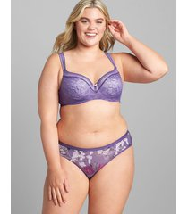 lane bryant women's modern lace lightly lined balconette bra 44ddd purple reign
