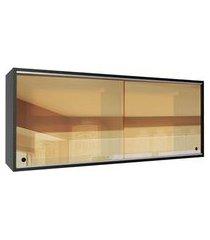 armário aéreo madesa reims 2 portas de correr de vidro reflex preto cor:preto