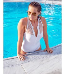 surf shore soft high neck tummy control one-piece swimsuit