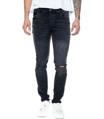 pantalón black denim skinny fit con rajadas en rodilla color blue