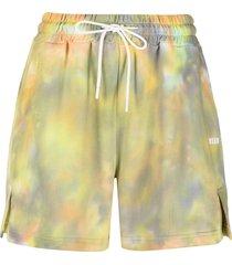 msgm tie-dye track shorts - yellow