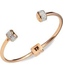 eye candy la women's luxe rose goldtone, titanium & crystal cuff bracelet