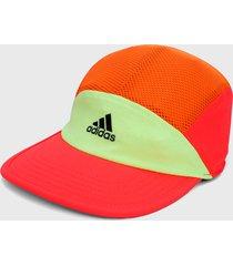 gorra verde-naranja-salmón adidas performance reflectiva aeroready cinco paneles