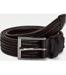 tommy hilfiger men's mixed materials formal belt testa di moro - 32