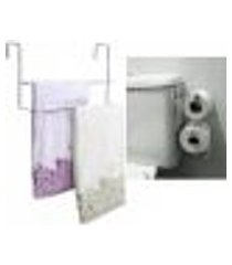 kit banheiro toalheiro 45cm box suporte porta papel descarga