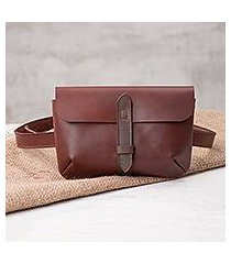 leather waist bag, 'experience in mahogany' (peru)