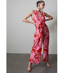 natori aiko printed cdc mandarin jumpsuit, women's, size l