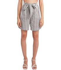 bcbgeneration woven striped tie-waist long shorts