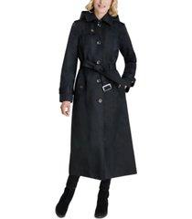 london fog petite belted maxi hooded raincoat