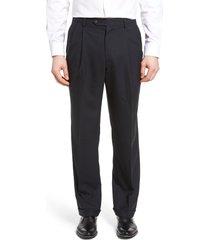 men's berle lightweight plain weave pleated classic fit trousers, size 33 x unhemmed - blue