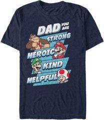 nintendo men's super mario dad strengths short sleeve t-shirt