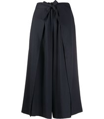 issey miyake belted wide leg trousers - blue
