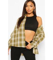 petite oversized flannel shirt, khaki