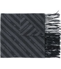 givenchy all-over logo fringed scarf - grey