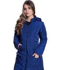 sobretudo jaqueta longo acolchoado carbella inverno capuz removível azul marinho