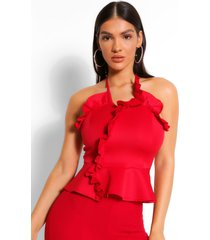 frill wrap strapless top, red