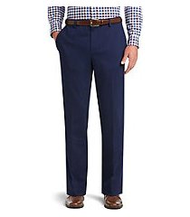 traveler collection tailored fit flat front comfort waist twill pants - big & tall clearance by jos. a. bank