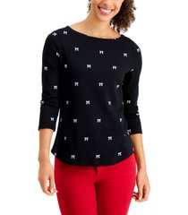 charter club bow-print top, created for macy's