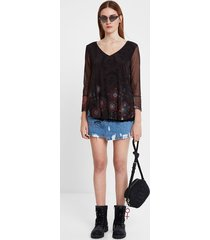multilayer flounced t-shirt - black - xxl