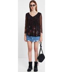 multilayer flounced t-shirt - black - xl