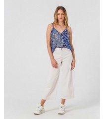 pantalón tipo culotte en tela de algodón reciclado con lino