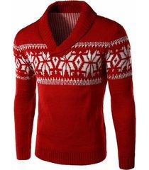 winter snowflake shawl collar sweater