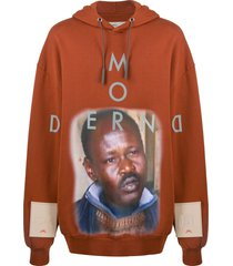 a-cold-wall* oversized modern print hoodie - orange