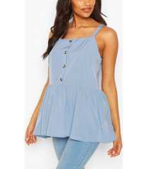 maternity button front cami smock top, pastel blue