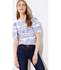 loft garden puff sleeve cropped statement tee