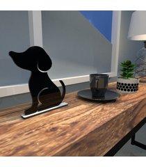 escultura de mesa adorno preto cachorro melhor amigo único