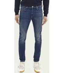 scotch & soda skim super slim fit jeans van een biologische katoenmix - deep blue
