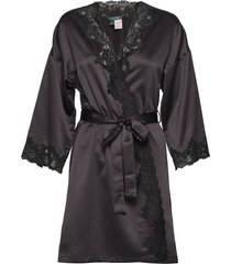 lrl signature lace kimono robe 97 cm morgonrock svart lauren ralph lauren homewear