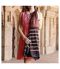 silk shawl, 'bengali festival in cocoa' (india)