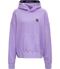 palm angels lilac cotton hoodie with front palm logo
