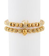 eye candy la men's adrian 2-piece goldtone cubic zirconia beaded bracelet set