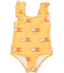 tiny cottons dog print ruffle trim swimsuit - yellow