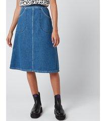 kenzo women's knee length denim skirt - midnight blue - uk 12/eu 42
