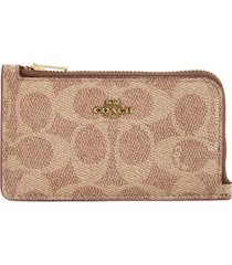 women's coach signature coated canvas & leather card holder - brown