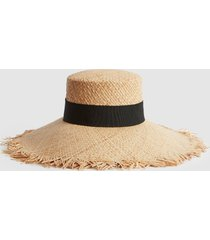 reiss audley - frayed straw hat in natural, womens