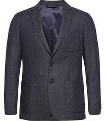 d1. slim structured flannel blazer blazer kavaj blå gant