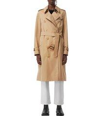 women's burberry kensington long trench coat, size 6 - yellow