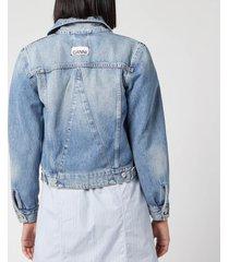 ganni women's washed denim jacket - washed indigo - eu 38/uk 10