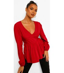 geweven peplum blouse met laag decolleté, berry