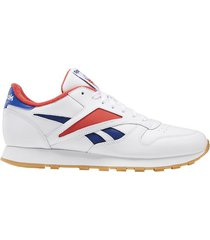 tenis classics reebok classic leather mark - blanco-rojo-azul