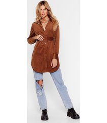 womens corduroy longline shirt with button-down closure - camel