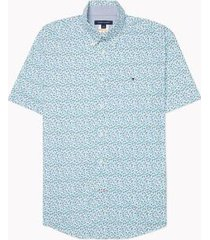 tommy hilfiger men's adaptive regular fit floral short sleeve shirt sky valley green - l